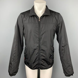 PRADA Size M Black Nylon Zip Up Jacket