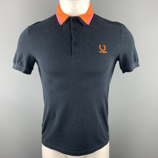 RAF SIMONS x FRED PERRY Size S Navy Orange Detachable Collar Polo