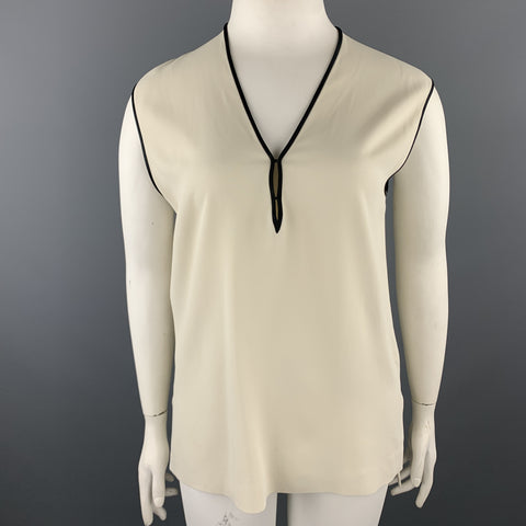 ETRO Size 12 Cream & Black Crepe Sleeveless V Neck Blouse