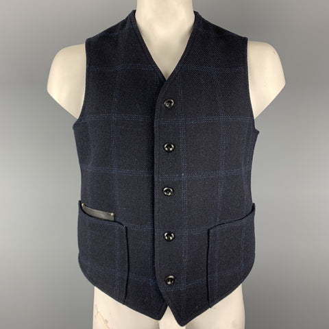 45rpm Size L Navy Plaid FOX BROTHERS Wool Leather Pocket Vest