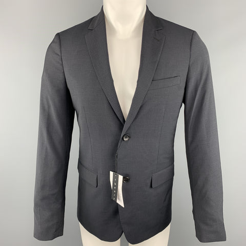THEORY Wellar Size 38 Regular Grid Navy Wool Sport Coat