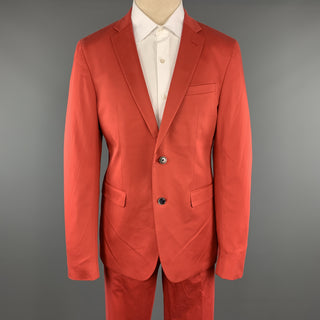 SAND Size 44 Coral Solid Cotton Blend Notch Lapel 36 x 32 Suit