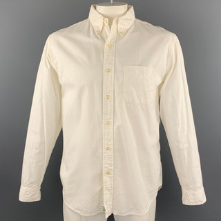 ORSLOW Size L White Cotton Button Down Long Sleeve Shirt