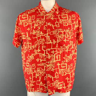 LEVI'S VINTAGE CLOTHING Size L Red & Yellow Print Polyester Short Sleeve Shirt