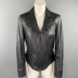 GIZIA Size 4 Navy Leather Zip Fly Motorcycle Jacket