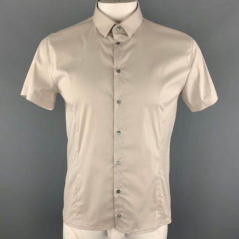 PATRIZIA PEPE Size L Ivory Cotton Blend Button Up Short Sleeve Shirt