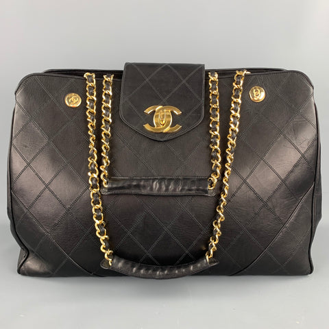 Vintage CHANEL Supermodel Jumbo XL Bag Black Quilted Leather Shoulder Handbag