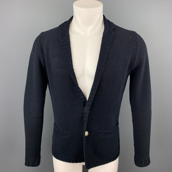EDIFICE Size XS Navy Knitted Cotton Notch Lapel Cardigan