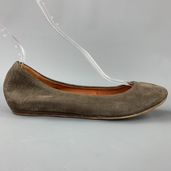 LANVIN Size 8 Taupe Suede Goat Ballerina Flats