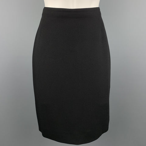 GIANNI VERSACE Size 8 Black Textured Pencil Skirt