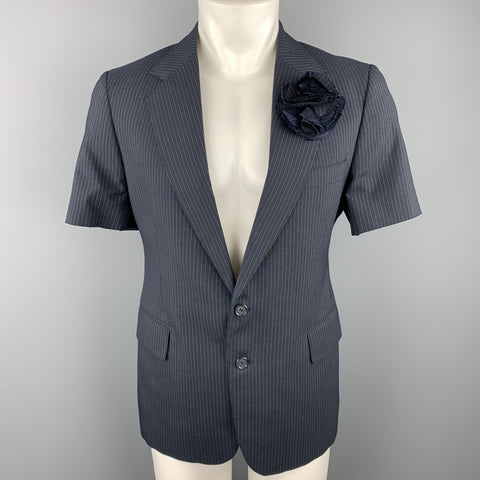 VINTAGE Size 40 Navy Pinstripe Notch Lapel Sport Coat