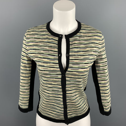 M MISSONI Size 8 Green Knitted Wool / Acrylic Buttoned Cardigan