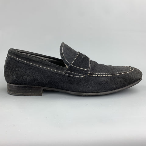 TO BOOT NY Size 10.5 Black Contrast Stitch Suede Slip On Penny Loafers
