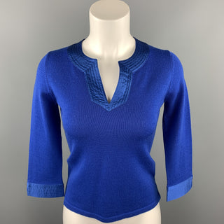 SHANGHAI TANG Size S Blue Knitted Wool Pullover
