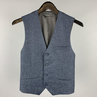 THEORY Size XS Navy Heather Silk / Wool Buttoned Vest