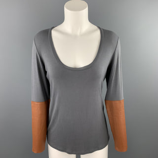 DULKINYS DAVIS Size M Grey Heather Color Block Jersey Scoop Neck Pullover