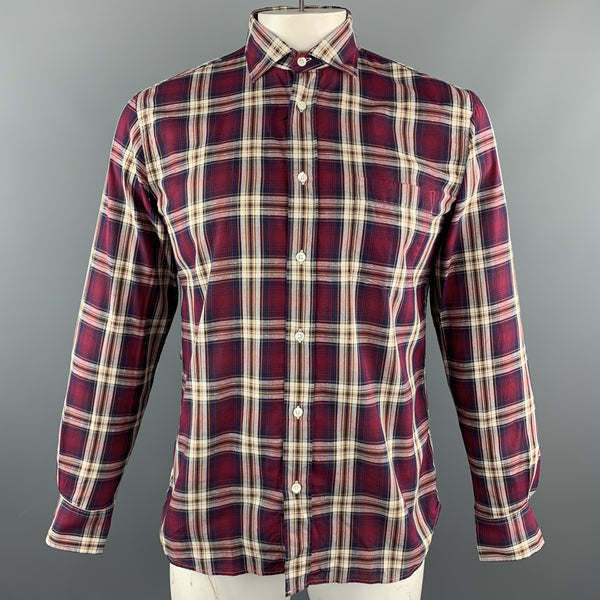 HARTFORD Size XL Burgundy & Brown Plaid Cotton Button Up Long Sleeve Shirt