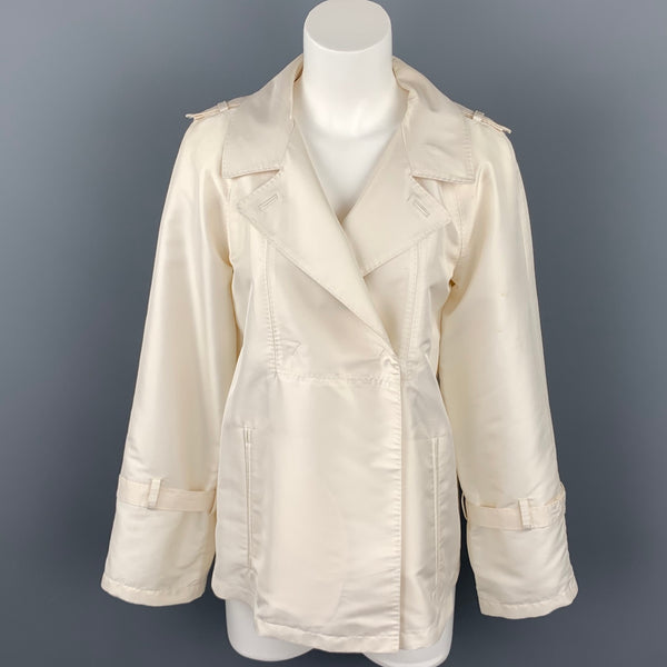CoSTUME NATIONAL Size 2 Cream Twill Polyester A-Line Jacket