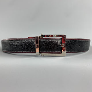 DUNHILL Two Tone Size 34 Black Leather Reversible Belt