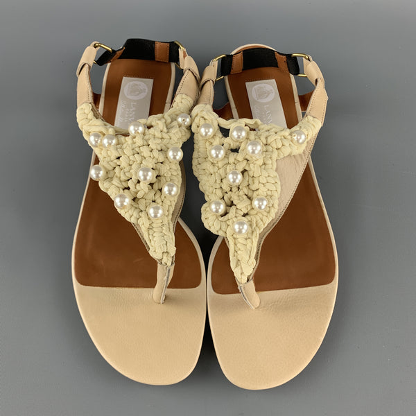 LANVIN Size 10 Beige Leather Faux Pearl Crochet Thong Sandals
