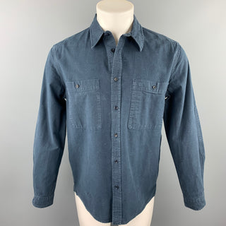 LEVI'S MADE & CRAFTED Size M Navy Embroidery Cotton Long Sleeve Shirt