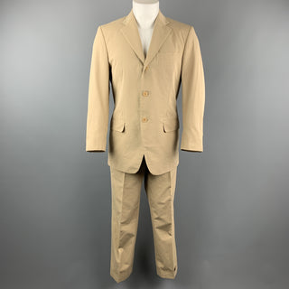 LUCIANO BARBERA 38 Regular Khaki Cotton Suit