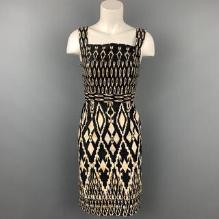 DAVID MEISTER Size 2 Black & Beige Ikat Cotton Sleeveless Dress