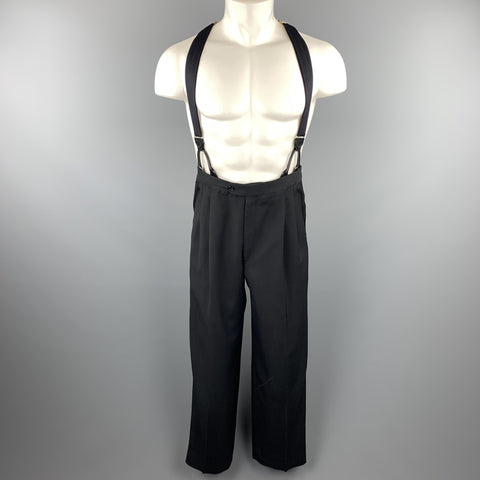 Vintage Size 33 Black Wool Pleated Tuxedo Stripe Braces Trousers