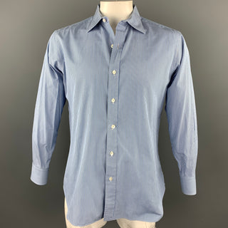 HAMILTON Size L Blue Stripe Cotton Button Up Long Sleeve Shirt