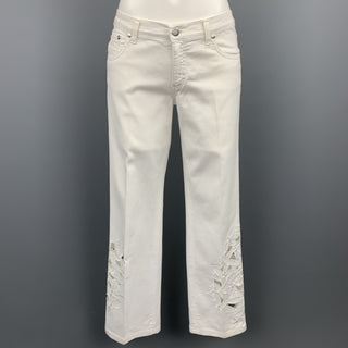 BLUMARINE Size 4 White Denim Embroidered Cut Out Jeans