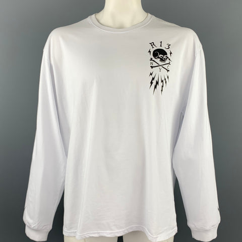 R13 Size L White Graphic Cotton Crew-Neck Long sleeve t-shirt