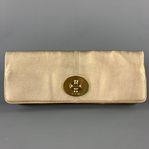 COACH Gold Leather Clutch Purse