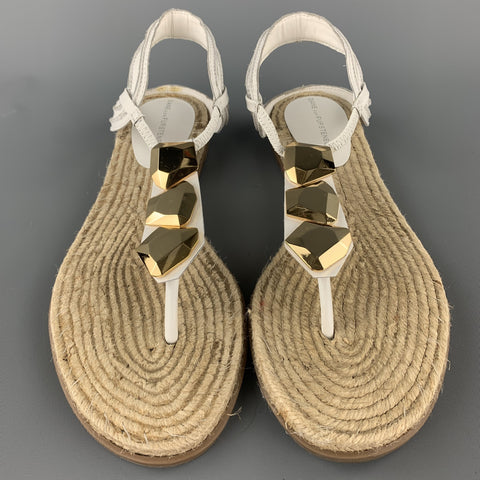 DIANE VON FURSTENBERG Size 9.5 White Leather Espadrille Sandals
