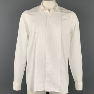 PAUL SMITH Size XL White Cotton Tuxedo Long Sleeve Shirt