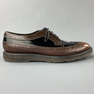 PAUL SMITH Size 10.5 Black & Brown Perforated Leather Wingtip Lace Up Shoes