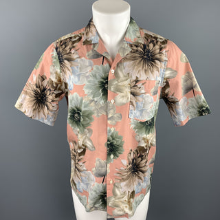 PRESIDENT's Size S Rose & Olive Floral Cotton Button Up Short Sleeve Shirt