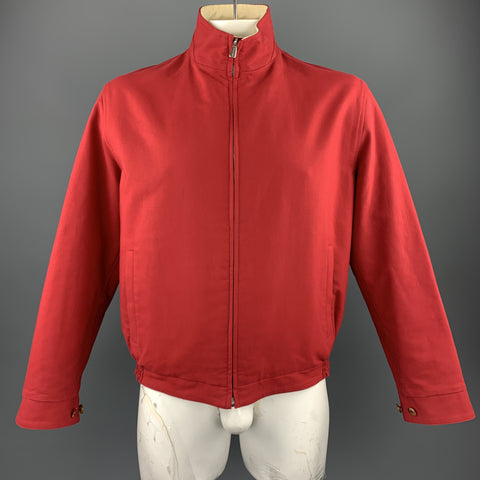 LORO PIANA Size L Red & Beige Cotton Reversible Jacket