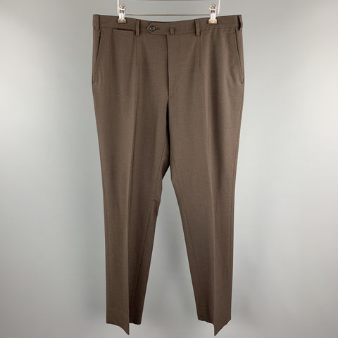 ISAIA Size 38 Brown Wool Zip Fly Tab Dress Pants