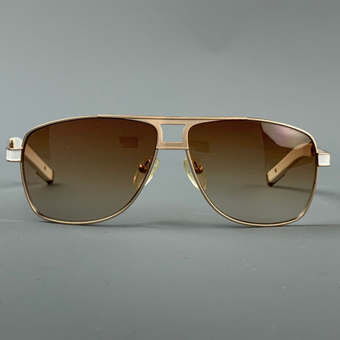 SKUNK FUNK Go South Sailing White & Gold Metal Sunglasses