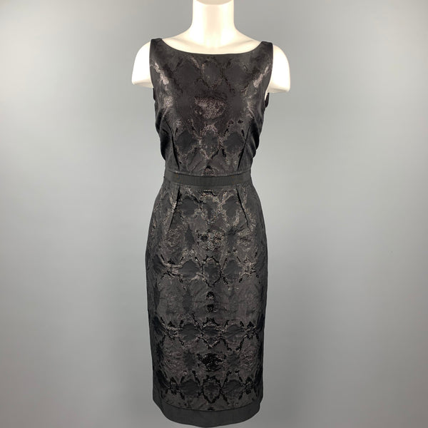 GIAMBATTISTA VALLI Size 8 Black Brocade Metallic Acetate Blend Cocktail Dress