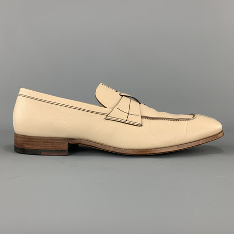 PRADA Size 9 Beige Leather Split Toe Strap Loafers