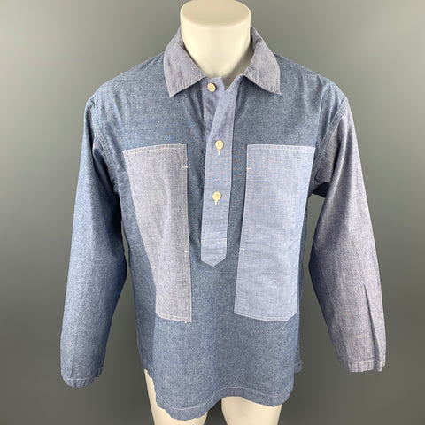 ENGINEERED GARMENTS Size M Blue Mixed Fabrics Cotton Long Sleeve Shirt