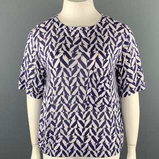 GIORGIO ARMANI Size 12 White & Blue Checkered Cashmere Blend Casual Top