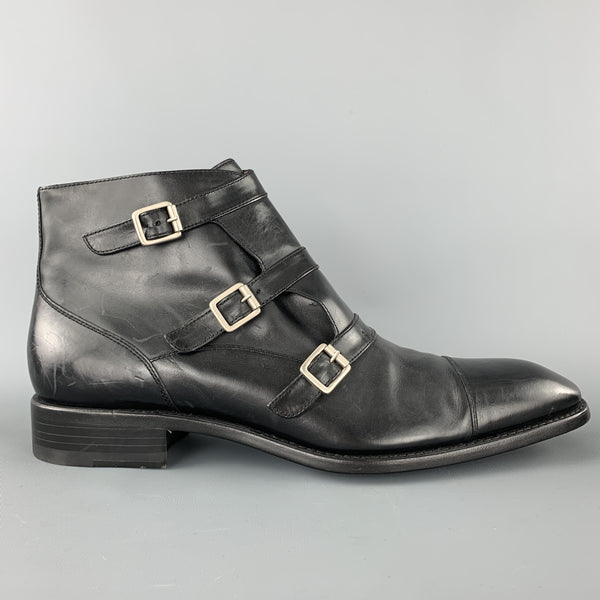 JEAN-BAPTISTE RAUTUREAU  Size 11 Black Leather Belt Straps Ankle Boots
