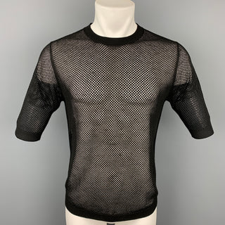 DRIES VAN NOTEN Size S Black Mesh Cotton Crew-Neck T-shirt