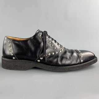 COMME des GARCONS HOMME PLUS Size 9.5 Black Studded Leather Cap Toe Lace Up Shoes