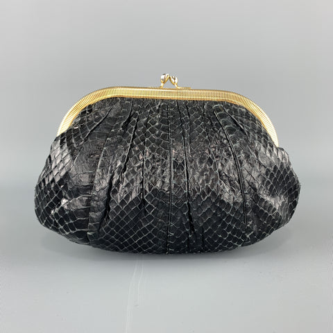 JUDITH LEIBER Ruched Black Snake Skin Evening Clutch Handbag