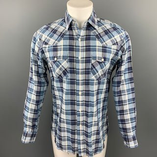 HAMILTON Size M Blue Plaid Cotton Patch Pockets Long Sleeve Shirt