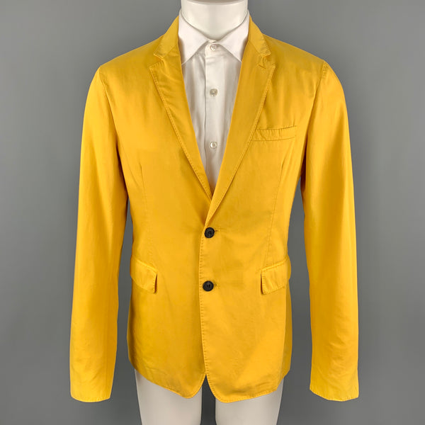 BURBERRY LONDON Size 40 Yellow Cotton Notch Lapel Two Buttons Sport Coat