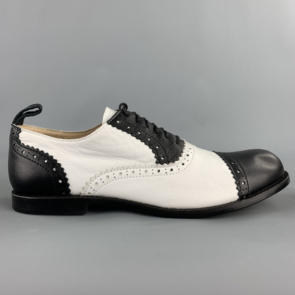 COMME des GARCONS Size 8 Black & White Perforated Leather Brogues
